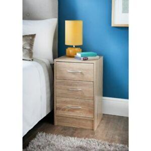 Lokken Oak Finish 3 Drawer Bedside Table ,Bedroom Furniture, Lamp Table