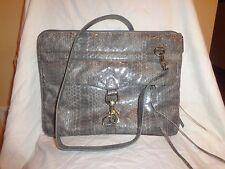 REBECCA MINKOFF Skinny MAC w/Strap Soft Grey Leather Crossbody Handbag NEW