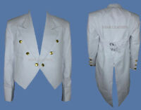 New Mens White Tailcoat Steampunk Goth Victorian Swallowtail Jacket Wedding Coat