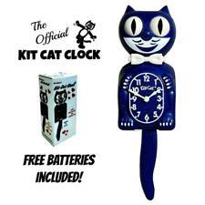 """GALAXY BLUE KIT CAT CLOCK 15.5"""" Glitter Free Battery MADE IN USA Kit-Cat Klock"""