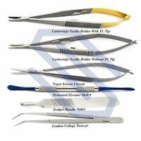 New Dental Micro Surgery Instruments Kit Surgical Scissor College Tweezer Molt 9