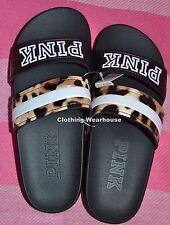 Victoria's Secret PINK Slides Double Strap Leopard Black Sandals Shoes S Small