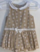Janie and Jack Baby Girl 3-6M Dress Champagne w/ White Polka Dots White Collar
