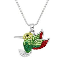 "Green & Red Hummingbird Charm Pendant Necklace - Sparkling Crystal - 17"" Chain"