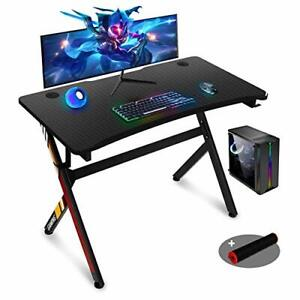 45 Inch Gaming Desk,R Shaped Gaming Table PC Computer Desk Home Office (Black)