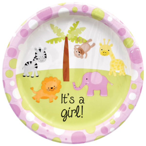 It's a Girl Animal Theme Baby Shower Party Kit For 36 Guests