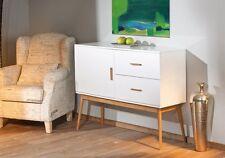 KOMMODE im Retro-Design, MDF-Hochglanz weiß/Bambus,1 Tür, 2 Schubladen NEU & OVP