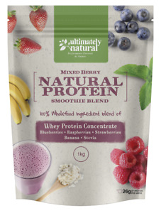 100% All Natural Pure Whey Protein Shake Wholefood Berry + Banana Smoothie Blend