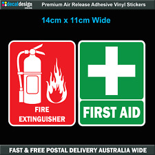 First Aid & Fire Extinguisher Sticker 140x110 Medical Decal OH&S WHS #F017