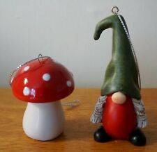 Braided Gnome & Dome Red Mushroom Christmas Ornament Set Country Cabin Decor New