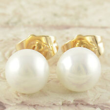Classic 9K Real Gold Filled Pearl Stud Earrings Round 8mm,F2276