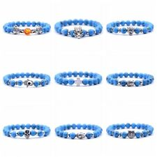 Blue Turquoise New Fashion Multi-style Dragon Lion Cross Buddha Beads Bracelets