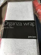 John Lewis Organza Wrap Sheet White With Silver Glitter New