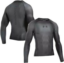 UNDER ARMOUR Mens Graphite & Black Charged Long Sleeve Compression Top XXL *NEW*