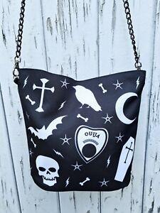 Gothic Handbag - Black Bag Bat Halloween Ouija Skull Coffin