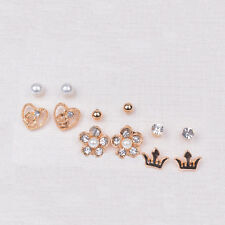 6 Pairs/Lot Girl's Gold Pld Beauty Crystal Flower Heart Crown Stud Earrings