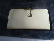 "50's Vtg cream leather French purse by Monette, never used,7"" wide, 3.5"" wide"