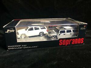 Boxed THE SOPRANOS Hummer H2 CADILLAC Escalade Diecast Model Set 1/64 JADA Toys
