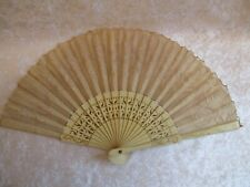 Vintage Painted and Pierced Wood and Embroidered Lace Ladies Folding Fan