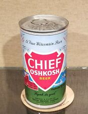Minty Bottom Open Straight Steel Chief Oshkosh Pull Tab Beer Can Wisconsin