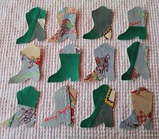 AA48 12 Iron On Sew On Appliques Vintage Quilt Cowboy Boots 1940s Western