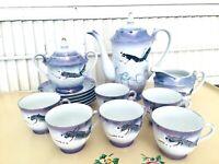 Vintage Japan Periwinkle/Lavender Moriage Dragon Lusterware Demitasse Tea Set