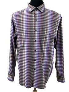 Tommy Bahama Men's Dress Shirt Size M Violet Dusk Surf Springs Stripe Button Up