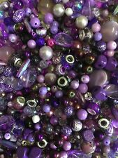 JEWELLERY MAKING MIXED COLOUR BEADS 80g MIX PURPLE LILAC GLASS ACRYLIC CRYSTAL
