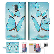 Cyan Butterfly Phone Wallet TPU Case Cover For  Motorola Moto G4 Plus -- A019