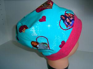 Neu-Handmade♥Barbie♥Beanie♥Mütze♥Kindermütze♥KU 38-58♥Jersey♥Mädchen♥türkis♥pink