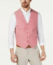 Tommy Hilfiger Men's Modern-Fit Chambray 5 Button Suit Vest Red Small NEW $125