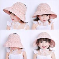 Kids Sunhat  For Girls Toddler Kid Fashion Cap Visor Cap with ties