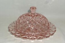 Anchor Hocking WATERFORD/WAFFLE PINK *BUTTER DISH w/LID*