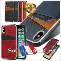 Etui coque DUAL porte cartes Cuir PU Leather case iPhone X/XS, XS Max, XR, Film