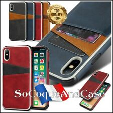 Etui coque DUAL porte cartes Cuir PU Leather case iPhone X/XS, XS Max, XR, Film