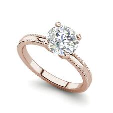 Cut Diamond Engagement Ring Rose Gold Milgrain Solitaire 0.5 Ct Vs2/H Round