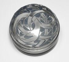 Lalique Art Deco Art Glass Epines Powder Box, blue stain. c1920s