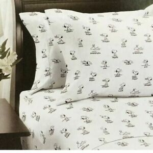 Berkshire Peanuts 4 Piece Snoopy Emotion White Percale Full Sheet Set A1