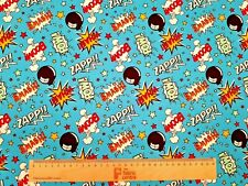 BOOM POW WHAM CANNONBALL - TURQUOISE - PRINTED POLY COTTON FABRIC - WIDTH 112 CM