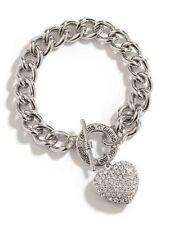 Guess Silver Chunky Chain Bracelet Rhinestone Heart Charm