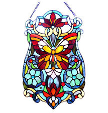 """Tiffany Stained Glass Panel """"Victorian Butterfly Fleurs"""""""