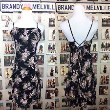 New! Brandy Melville Violet Purple & Black Floral Lace Tie Back Dress NWOT