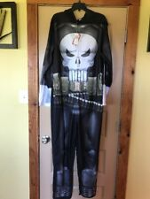 Men's Marvel Punisher Gray Skull One Piece Hooded Costume Size L - Nwt