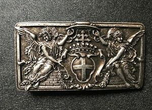,Angels,Cross,Crown &Shield.Christian themed belt buckle.Antique nickel plaited.