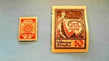 2 Latvia stamps, 1919, 5K & 10K, excellent condition and color