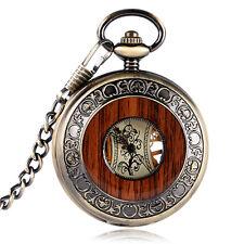 Antique Style Skeleton Mechanical Pendant Pocket Watch Wood Circle FOB Xmas Gift