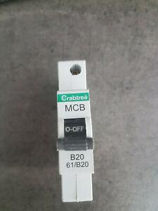 crabtree starbreaker 61/B20 20a Type B Single Pole MCB Unused 60898