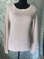 LOFT Womens Lightweight Sweater Cream/soft Pink Long Sleeve Sz M