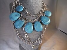 Vintage Necklace SIMULATED TURQUISE HEAVY Costume Jewelry Heaven Box Z1