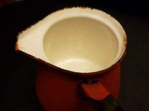 """Vintage Enamel Orange Color Pot Sauce Pan With Black Handle 10""""L 6.5""""H"""